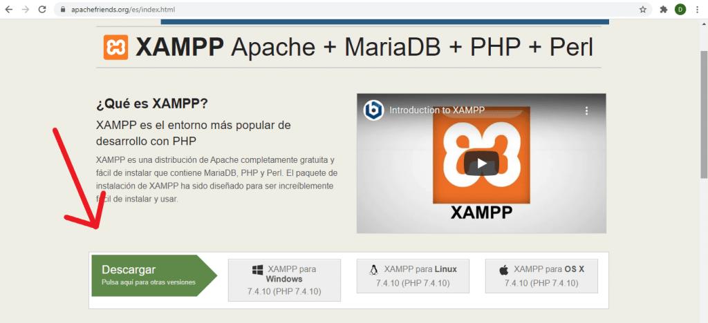 Elegir versión de Xampp
