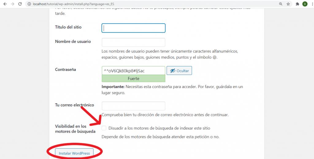 Instalación final de WordPress
