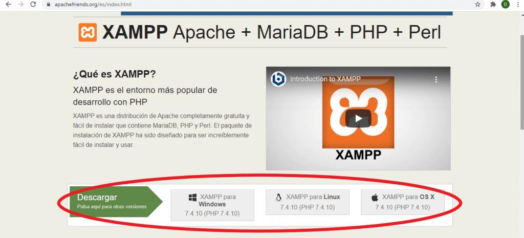 Primer paso para instalar Xampp